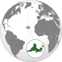 Location of Pavonistade (green) in the Atlantic Ocean