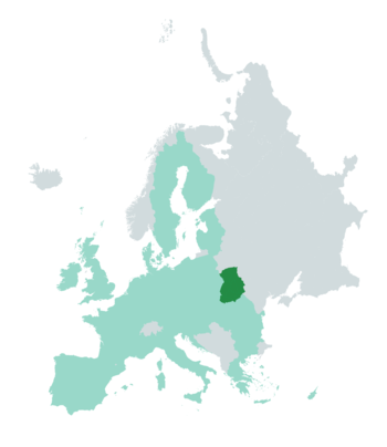 Location of Bastarneia (green) within European Union (light green) and Europe (gray)