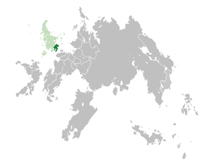 Location of  Velsken  (dark green) in the Hallanic Commonwealth  (green)