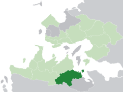 Ternos (dark green) in the Kingdom of Trellin (light green)