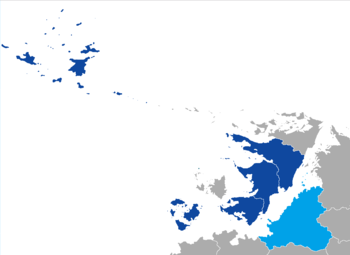 Member States and regions of the Lhedwinic Council (blue)