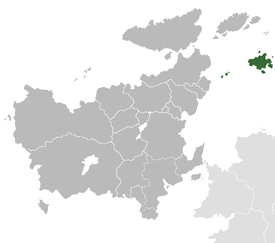 Location of Geatland (in green), within Euclea (grey)