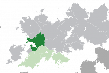 Location of Lyncanestria (dark green) – in Belisaria (green & dark grey) – in the Belisarian Community (light green)