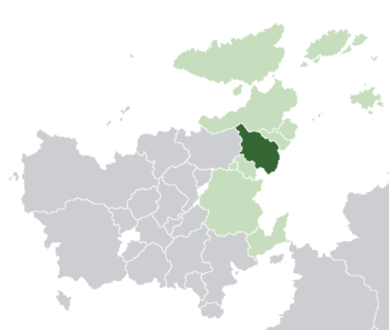 Estmere (dark green) in Euclea (light green and light grey) and in the Euclean Community (light green).