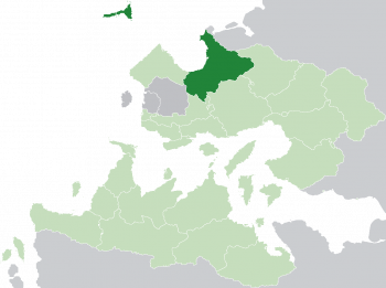 Location of Arimathea (dark green) in the Trellinese Empire (light green)