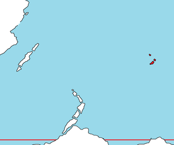 The Holish Islands (in red) in the Samson Ocean, north of Antartique and east of Ausiana and the country of Karnaim