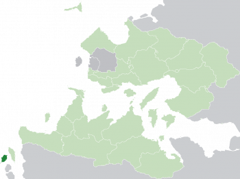Location of Cadenza (dark green) in the Trellinese Empire (light green)