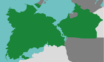 Location of Mesoland (dark green) on the continent of Ixalia in Astyria (dark grey: other countries, light grey: Astyrian territory)
