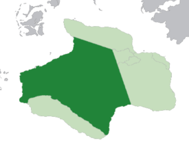 Location of the Blackhelm Confederacy (dark green) in the Hesperidesian Union (light green)