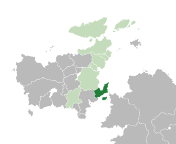 Location of Florena (dark green)– in Euclea (green & dark grey)– in the Euclean Community (green)