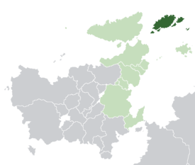 Caldia (dark green) in Euclea (light green and light grey) and in the Euclean Community (light green).