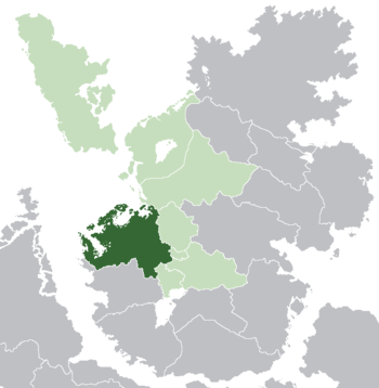 Noordenstaat (dark green) in Lorecian Community (light green)