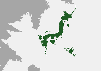 The Fusonese Archipelago. Note the smaller green dots outside the main island as they are part of Fuso.