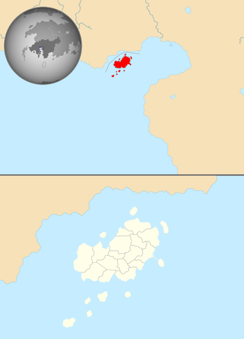 Map showing Jindao's location in Coius, on Xiaodong's south coast, and Jindao's 16 provinces