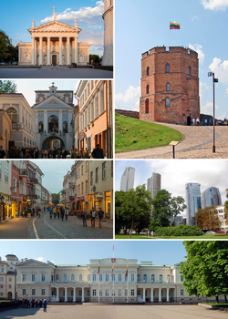 Clockwise from top right: Tower of Daumantas, Nauja district, Presidential Palace, Karaliaus Street, Gate of the City, Višnevas Cathedral
