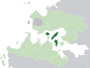 Location of the Isles of Velar (dark green) in the Trellinese Empire (light green)