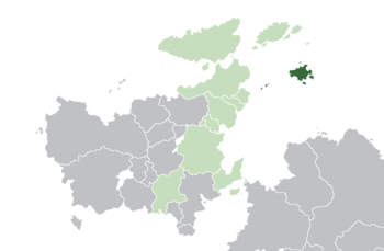 Location of  Varienland  (dark green) – in Euclea  (green & dark grey) – in the Euclean Community  (green)